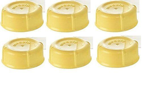 (6) Medela Solid Lids - Yellow/ solid cap/ bottle lid/ bottle solid cap