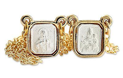 Catholic Medal Scapular, Our Lady Mt. Carmel and Sacred Heart Jesus, Gold Plated