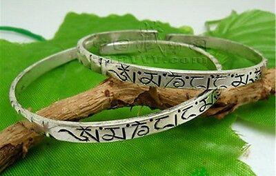 Solid Tibetan Delicately Carved Mantra OM Mani Padme Hum Amulet Cuff Bracelet