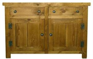 SOLID-WOODEN-SIDEBOARD-DRESSER-BASE-CABINET-CUPBOARD-RUSTIC-PLANK-PINE-FURNITURE