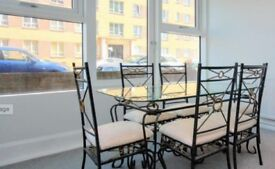 Metal frame black and gold dining table and six chairs