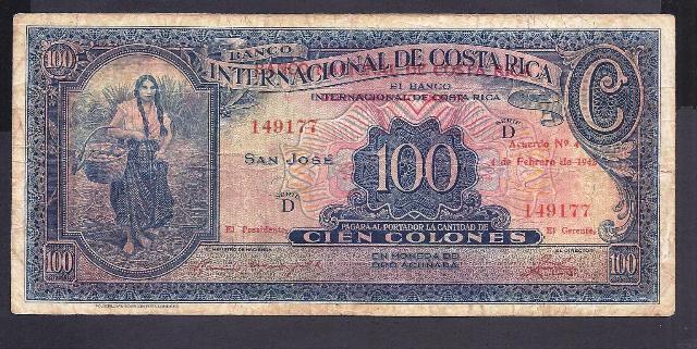 Costa Rica p-194a  , F , 100 Colones, 1942
