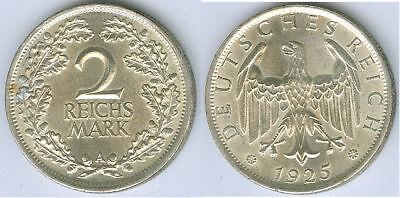 Weimarer Republik  2 Reichsmark 1925 A  fast stempelglanz bis stempelglanz