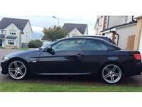 BMW 320d M-Sport Convertible Auto 2012, 68000 miles, Black with Red Leather