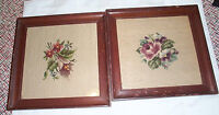 Vintage Pair Needlepoint Samplers - Flowers