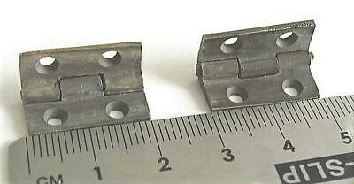 Pair, small brass stop hinges,antique tea caddy, box, 20mm, patinated  H1-20