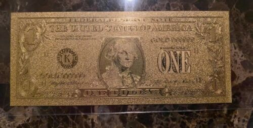 24K GOLD Plated Foil $1 Dollar Bill Novelty Note In Plastic Sleeve N11