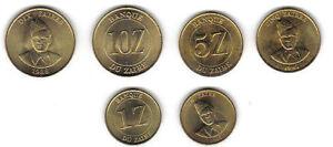 ZAIRE-3-DIFF-UNCIRC-1980S-COINS-1-5-10-ZAIRES