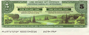 1985 FIVE DOLLAR LONG DISTANCE GIFT CERTIFICATE BANK NOTE