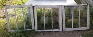 3 PANE VINTAGE WINDOWS FOR SALE