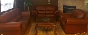 3 piece Brown Leather Sofas