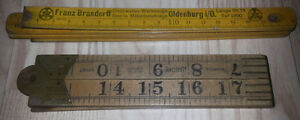 2 Antique Folding Wooden Wood Ruler Lot rulers