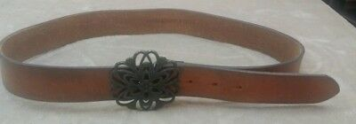 Vintage 1990's Abercrombie and Fitch Leather Womens Belt size L Floral Buckle