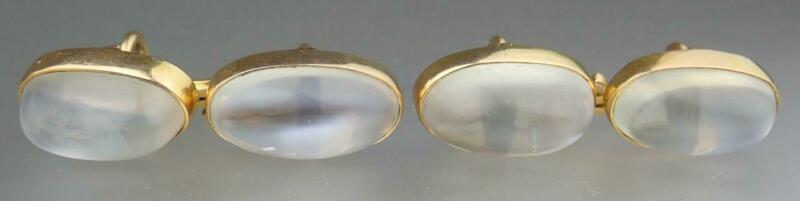 Antique Victorian 14K Gold 12.5cts Blue Moonstone Sugarloaf Cabochon Cufflinks