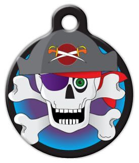 COLORFUL PIRATE SKULL - Custom Personalized Pet ID Tag for Dog and Cat - Pirate Customs