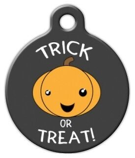 TRICK OR TREAT HALLOWEEN - Custom Personalized Pet ID Tag for Dog and Cat Collar