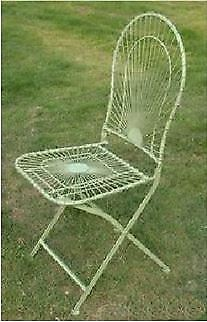 Antique Cream Wirework Folding Garden Chair With Curved Back