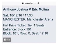 Excellent pair of tickets to see Anthony Joshua v Erica Molina