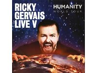 6 x Ricky Gervais tickets for sale for SOLD OUT Edinburgh Playhouse gig on 8th June --- £35 each