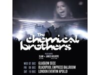 2 CHEMICAL BROTHERS STALLS STANDING TICKETS SATURDAY 10 DECEMBER LONDON HAMMERSMITH EVENTIM APOLLO