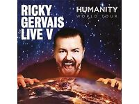 PAIR of tickets for SOLD OUT Ricky Gervais gig at EDINBURGH PLAYHOUSE, Fri 9th June