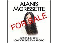 ALANIS MORISSETE 2x floor seated tickets Row U