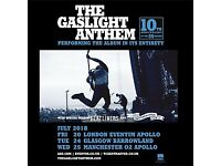 1 x face value ticket for Gaslight Anthem @ Hammersmith Apollo (20th July) w/ Dave Hause