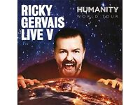2x Ricky gervais Humanity tickets stalls