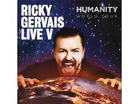 Ricky Gervais EDINBURGH x 2 Tickets - HUMANITY TOUR