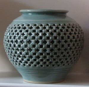 Korean Celadon Vase Reticulated Basket Weave-double wall