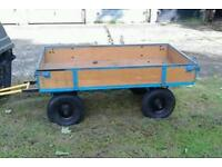 Garden Barrow can bet towed approximately 6 foot by 3 drop sides pump tyres