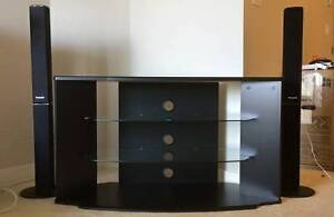 TV television stand - contemporary black and glass