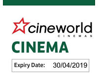 6 x £10 Cineworld cinema ticket