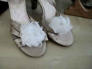 peony feather shoe adornments