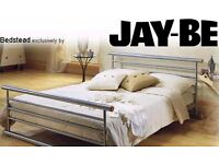 DOUBLE BED FRAME. GOOD QUALITY, STURDY 'JAY BE' SILVER METAL BEDFRAME (& MATTRESS IF REQUIRED).