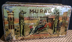 "boîte en métal Murad ""turquish cigarettes"", imperial tobacco"