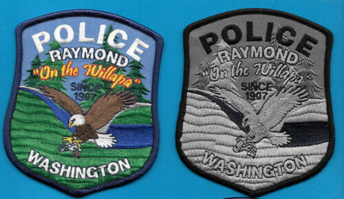 LOT OF 2 PATCHES RAYMOND WASHINGTON WASH WA POLICE DEPT COLOR AND SUB SET OF