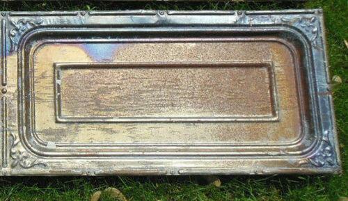 Antique Iridescent Ceiling Tin Tile Carnival Canvas Elegant Fleur De Li Frame