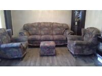 3 piece suite and pouffe with storage compartment for sale. In very good condition. At £275.