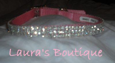 "Pink Swarovski Crystal Rhinestone Small Dog Collar fits 9-12"" necks"