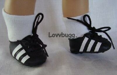 "Lovvbugg Soccer Sneakers Wavy Soles for 18"" American Girl or Boy or Bitty Baby Doll Shoes"