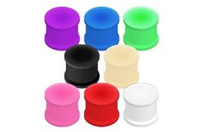 PAIR-of-Soft-Solid-Silicone-FLARED-EAR-Gauges-PLUGS-TUNNEL-Ring-Piercing-Jewelry