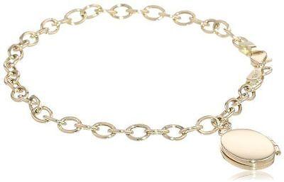 NEW 14k Yellow Gold 7.5-inch High-polish Oval Locket Bracelet- Lobster Clasp 4g