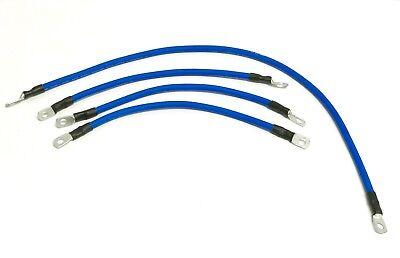 (HONDA ACURA BLUE GROUNDING KIT # 6 GAUGE WIRE GROUND CABLE 4 PC (3@12