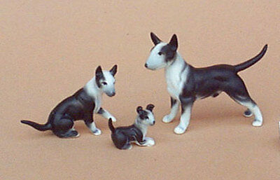 Bullterrier terrier porzellanfigur hund hundefigur porzellan figur satz 3 ()