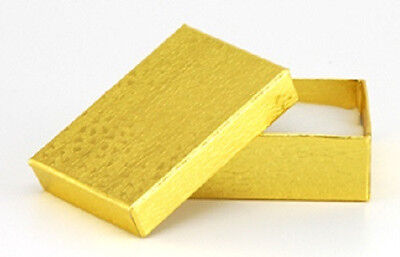 New100 Gold Cotton Filled Jewelry Gift Boxes 2.5