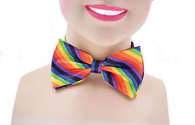 Rainbow Clown Bow Tie Gay Pride 70's Austin Powers Circus Fancy Dress Accessory