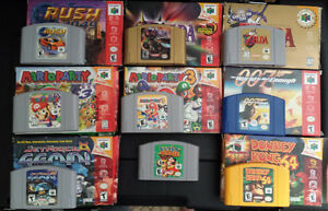 N64 system, games with original boxes, and more