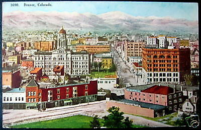 Denver Co 1908 Capitol Hill Downtown View   Rare