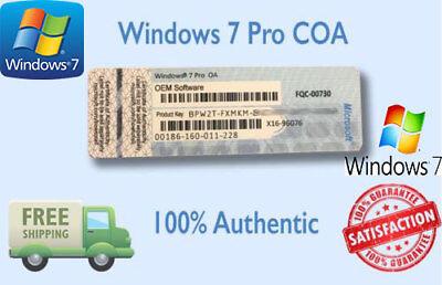 Windows 7 Pro Coa 32 64 Bit Sticker W  Hard Drive